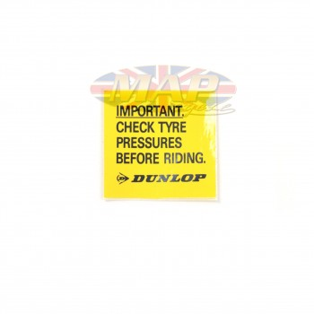 DECAL/ IMPORTANT CHECK TIRE DUNLOP YELLO 60-7235