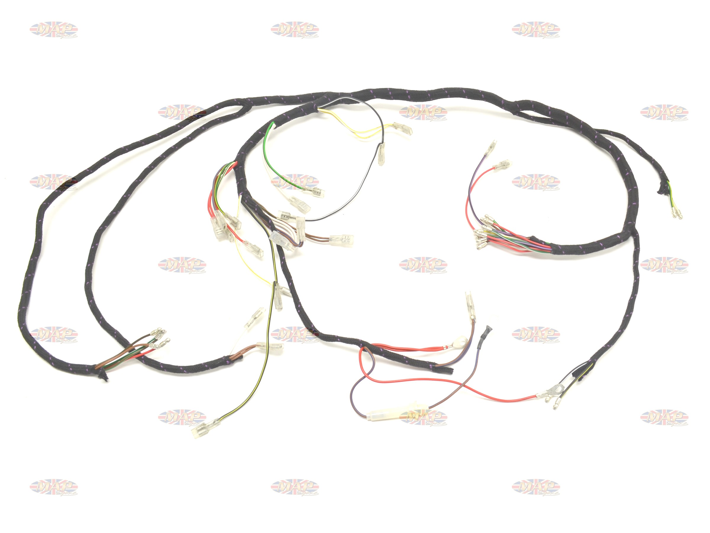 Triumph 1971-73 T120 Bonneville TR6 Tiger UK-Made Main Wiring HarnessMAP Cycle