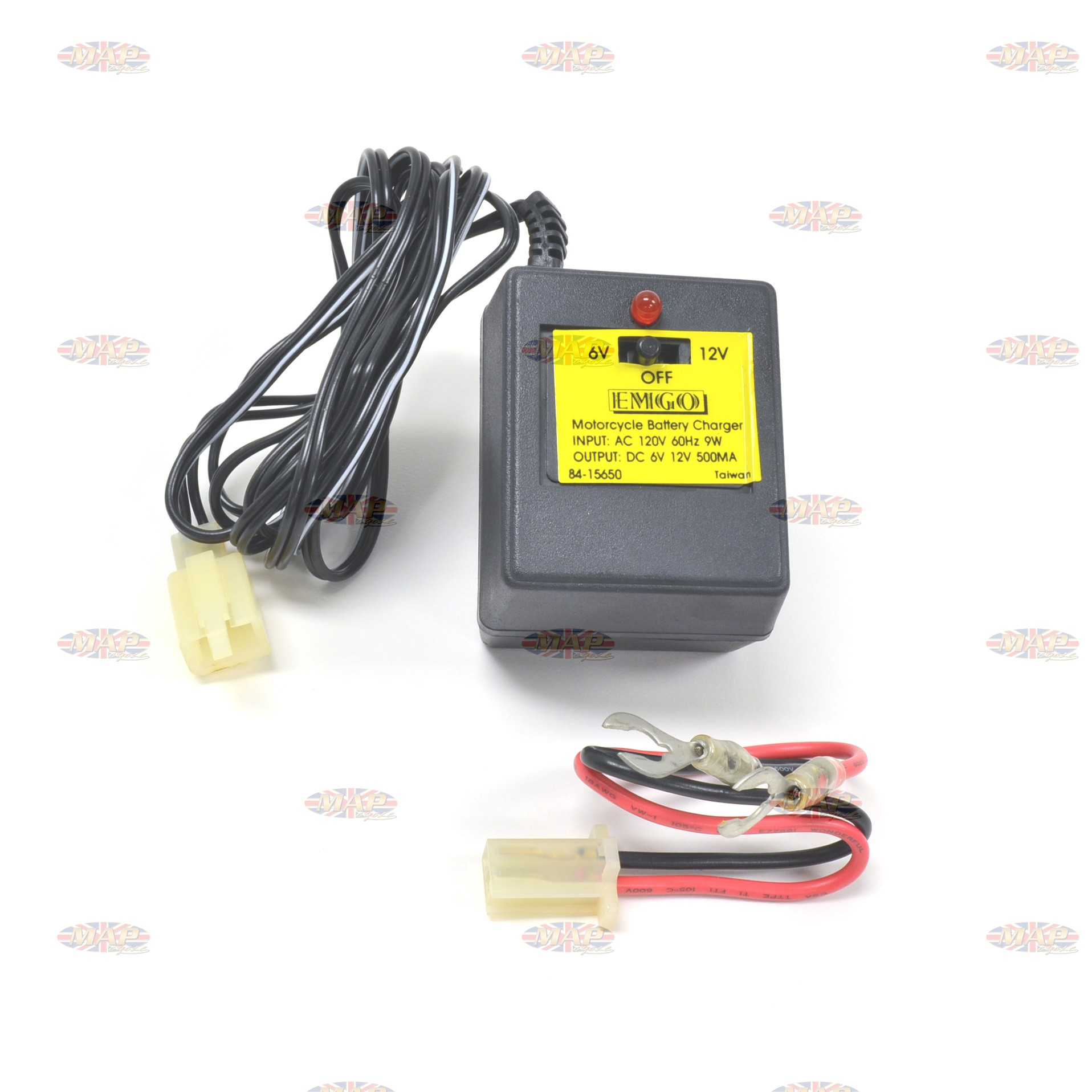 Motorcycle Compact Battery Charger Maintainer With Detachable Leads MAP0995