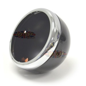 "Lucas-Style Headlamp Headlight Shell Rim Chrome/Black 5-3/4"" Side Mount 66-65074"