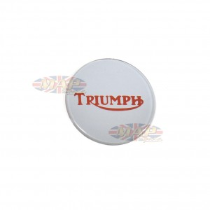 Triumph Bonneville T140 Center Gas Tank Emblem Badge Silver on Red 84-0026