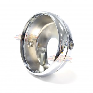 Universal Chrome Motorcycle Headlight Flat Back With Rim No Top Holes 99-1009NH/P