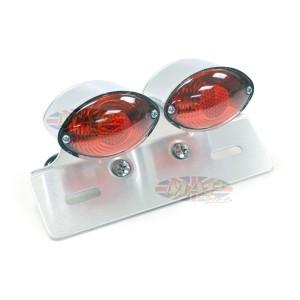 Dual Small Cateye Brake Light with License Plate Bracket 62-21602