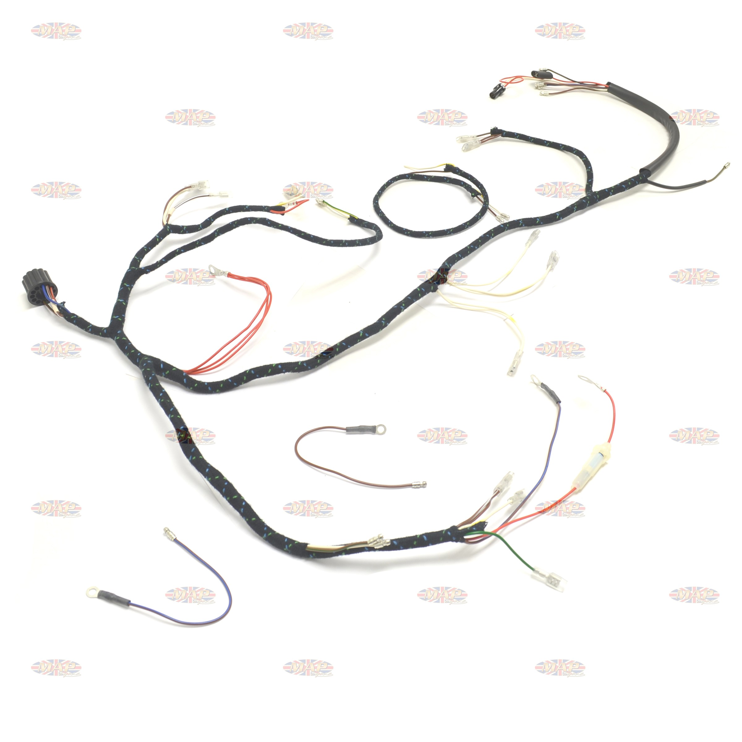 triumph 1966 t90 t100 t120 tr6 uk made 12 volt wiring harness bba triumph 1966 t90 t100 t120 tr6 uk made 12 volt wiring harness triumph t140 wiring harness at couponss.co