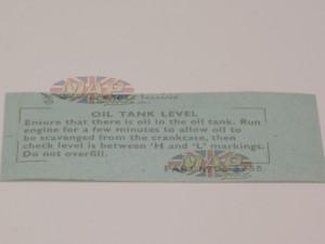 DECAL/  OIL TANK LEVEL etc.  NORTON 06-3755