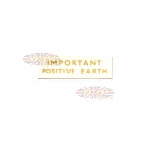 DECAL/  IMPORTANT POSITIVE EARTH 60-0052