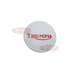 Triumph Bonneville T140 Center Gas Tank Emblem Badge Silver on Red 84-0026