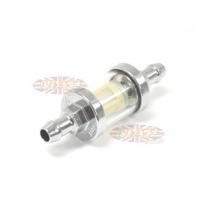 """Universal Chrome Glass Fuel Filter w/ Washable Mesh Filter 3/8"""" A-FF00338"""